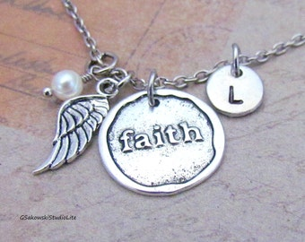Faith Angel Wing Charm Necklace, Personalized Hand Stamped Initial Monogram Birthstone Antique Silver Wax Seal Faith Necklace