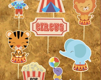Circus Cupcake Toppers - Carnival Cupcake Toppers - Circus Party - Baby Shower - set of 16 Circus Cupcake Toppers - Circus Birthday.