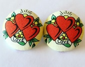 American Traditional Heart Tattoo Print Fabric Button Earrings