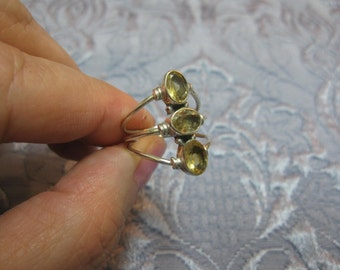 Triple Citrine Sterling Silver Ring Size 7 3/4