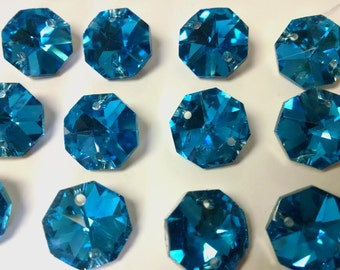 100 Silver Backed Turquoise Chandelier Crystal Octagon Beads Aqua Prisms 14mm Metallic