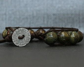 bloodstone bracelet - dragon blood jasper on black brown leather - boho gypsy - mens or womens jewelry - green red brown
