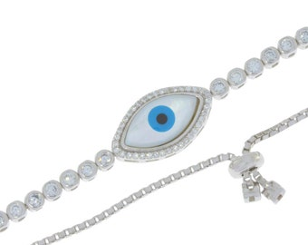 Blue Evil Eye CZ Bracelet .925 Sterling Silver