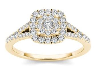 10Kt Yellow Gold Diamond Engagement 0.50 Ct Ring