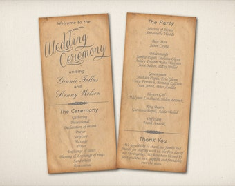 """Wedding Program Card, Rustic Calligraphy, Modern Vintage, Script Cottage Chic , 4""""x9"""" Double Sided DIY Printable (P33)"""