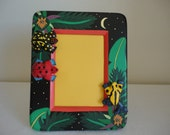 """Rain Forest / Jungle Night Wooden Frame - 5""""x7"""" - Jungle Night Theme / Handcrafted / Made in Indonesia / Children's Decor / Family Vacation"""