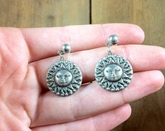 vintage sun earrings - celestial jewelry