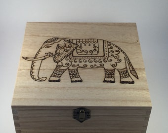 Personalised Wooden Ethnic Elephant Box