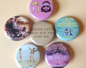 "Wes Anderson pin back buttons 1.25"" set of 6"