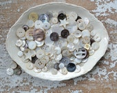 Vintage Shell Button Lot - Mother of Pearl Set Bulk Sewing Collection Mix 125
