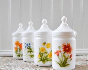 Vintage White Milk Glass Opaline French Jars with Lids Flower Design France