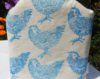Hen/Chicken Cafetiere Cosy, Hand Printed Lino Print, Blue&White Check Gingham Cotton Fabric. To Fit Large Cafetiere. Farm/Countryside Chic!
