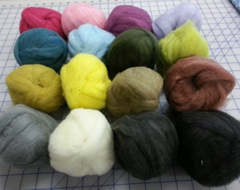 16 ( 1 oz ) wool roving in solid colors  Nice selection for needle felters  (ON SALE) felting felt