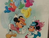 "Disney Mickey Minnie Mouse balloons 18"" by 24"" new poster in shrink wrap.  Vintage early 1990's"