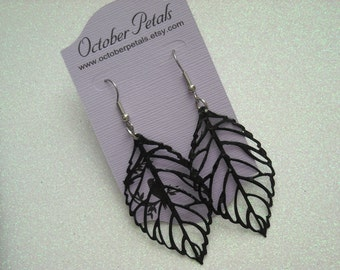 Black  Leaf Filigree Design Earrings