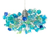 Ceiling pendant light with sea color flowers and leaves, for living rooms, Kitchen island, bedroom or as bedside lamp.