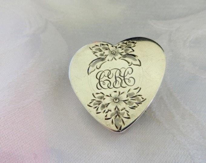 Sterling Pillbox Brooch Vintage Silver Heart Pill Box Pin Monogrammed Wedding Bride