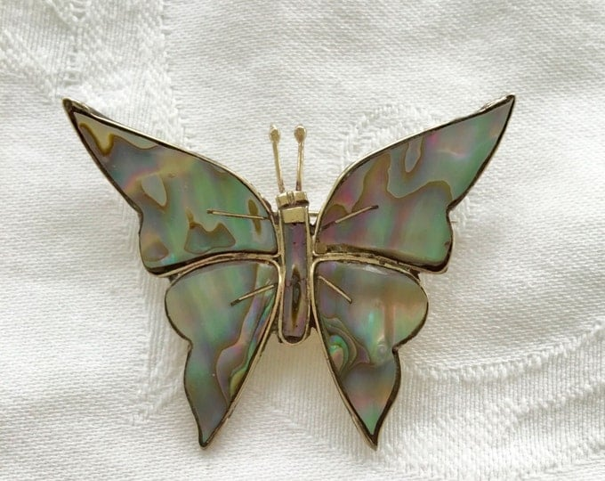 Sterling Butterfly Brooch, Vintage Abalone Pin, Mexican Silver, Butterfly Jewelry