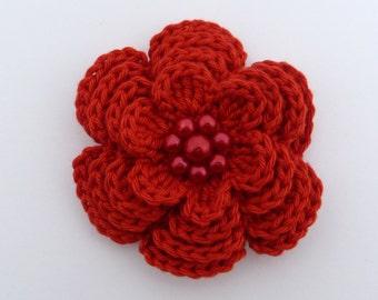 Large red crochet flower brooch (3 ins diameter)