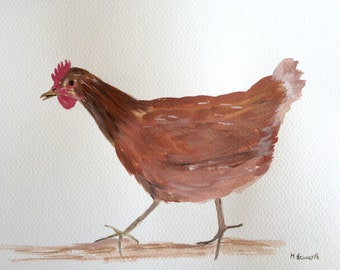 Hen art, hen watercolour painting, chicken art, farm animal 12 X 9 inches