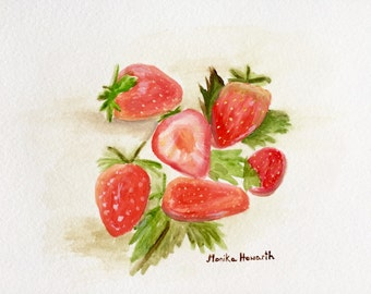 20% off sale Strawberries watercolour painting, strawberries art, 10 X 7 inches one of a kind fruit watercolour