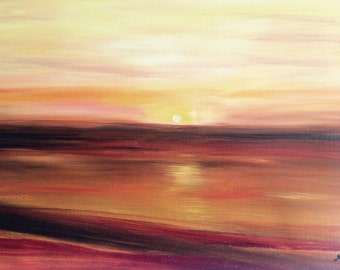 Sunset oil painting, sunset artwork, orange painting, home decor, wall art, sunset painting, 20 x 16 inches