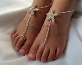 Bridal Flower Girl Starfish Foot Jewelry Wedding Starfish Baby Barefoot Sandals Toddler Kids Foot Jewelry Wedding Shoes