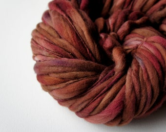 SALE: Thick and Thin Slub Yarn Handspun Merino Yarn, Brown Yarn