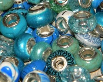NEW European MIXED BLUE'S lot of Charm, European Spacer beads 925 silver core 30/pcs per order 14.0-14.5mm