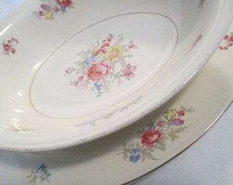 Vintage 1940's Homer Laughlin Eggshell Nautilus Dresden N1679 Oval Serving Platter and Vegetable Bowl