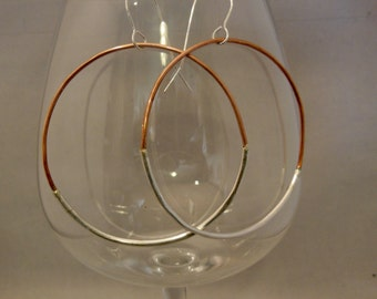 Big and fun Silver and Copper Hoop Earrings