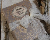 Wedding guest book in taupe and gold with block printed cover, photo album, journal or scrapbook - Made To Order 8.5x6 inches
