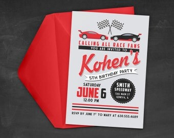 Race Car Birthday Party Invitation - Race Car Invitation - Race Car Theme Party - Cars Birthday Party - Printable