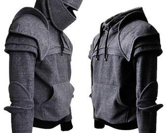 knight hoodie/mens hoodie/sweatshirts/halloween/for men/dark gray/mens gift/christmas gifts/Duncan Armored Knight Hoodie(100% Handmade)