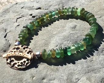 Sea Glass Jewelry, Beach Glass Bracelet, Genuine, Gypsy, Boho, Artisan, Rustic, OOAK, Handmade, Size 8