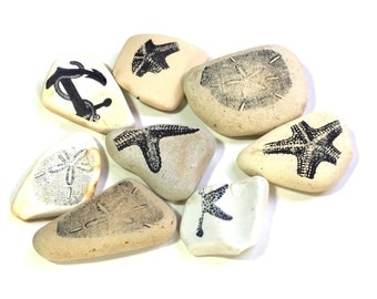 Beach Decor, Ocean Theme, Sea pottery, Ceramic, Earthenware, Vintage, Art Supplies, Mixed Media