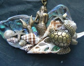 mermaid necklace READY TO SHIP Mermaid abalone necklace mermaid jewelry statement necklace