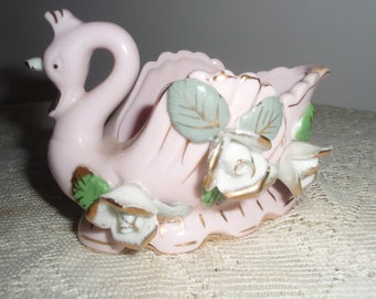 Porcelain Swan Dish, Delicate Pink Swan with applied flowers and gold gild, Swan trinket dish, jewelry dish, catchall dish,Swan dresser dish