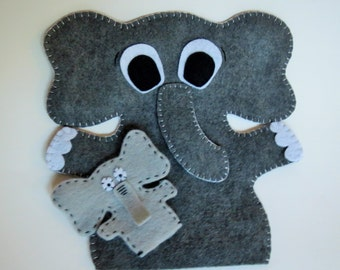Elephant puppet, elephant toy, hand puppet, finger puppet, mom baby, felt elephant, felt puppet, handmade toy, unique gift, childrens toy