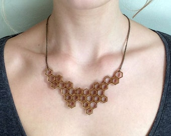necklace HONEYCOMB - lasercut from birch wood