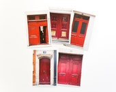 Postcard Set-Paris Doors in Red, set of 5