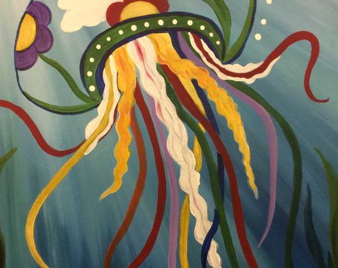 Jellyfish in Motion in Acrylics