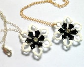 14k Gold Filled Enamel Flower Necklace Black Metal Simple Black and White Flower Necklace Gold Fill Bridesmaid's Necklace Sterling Silver