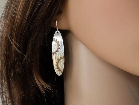 Mixed Metal Earrings, Silver and Copper Earrings, Artisan Earrings, Steampunk Earrings, Rustic Earrings, Metalsmith Earrings, Silver Dangle