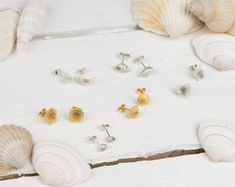 Silver Sea Shell Studs - Earrings - Silver - Gold - Gift for Her - Wedding - Bridesmaid - Jewellery