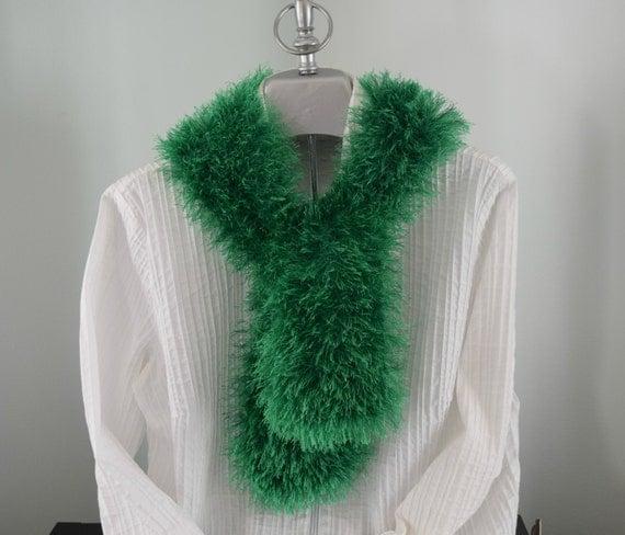 Knitting Pattern For Fun Fur Scarf : Knitted Scarf Green Fun Fur Scarf Stocking by CinsKnitsnThings