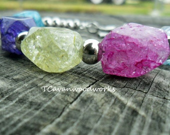 ice flake quartz bracelet, color dyed quartz, all stainless steel non tarnish, quartz bracelet, multi colored