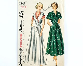 1940s Simplicity pattern 2845 • misses' and women's one piece wrap dress and house coat • size 16 bust 34 • unused | uncut