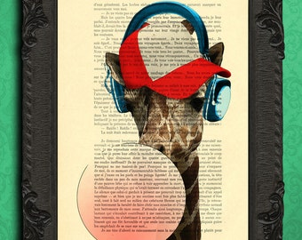 giraffe print hipster giraffe and headphones baseball cap pink bubblegum cool posters for dorm room gift idea