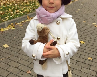 Girls wool coat autumn winter ivory soft special occasion baby infant  birthday christmas fall elegant warm
